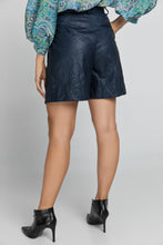 Load image into Gallery viewer, Blue Faux Leather Bermuda Shorts