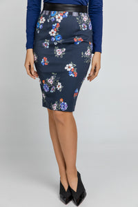 Blue Patterned Pencil Skirt