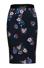 Load image into Gallery viewer, Blue Patterned Pencil Skirt