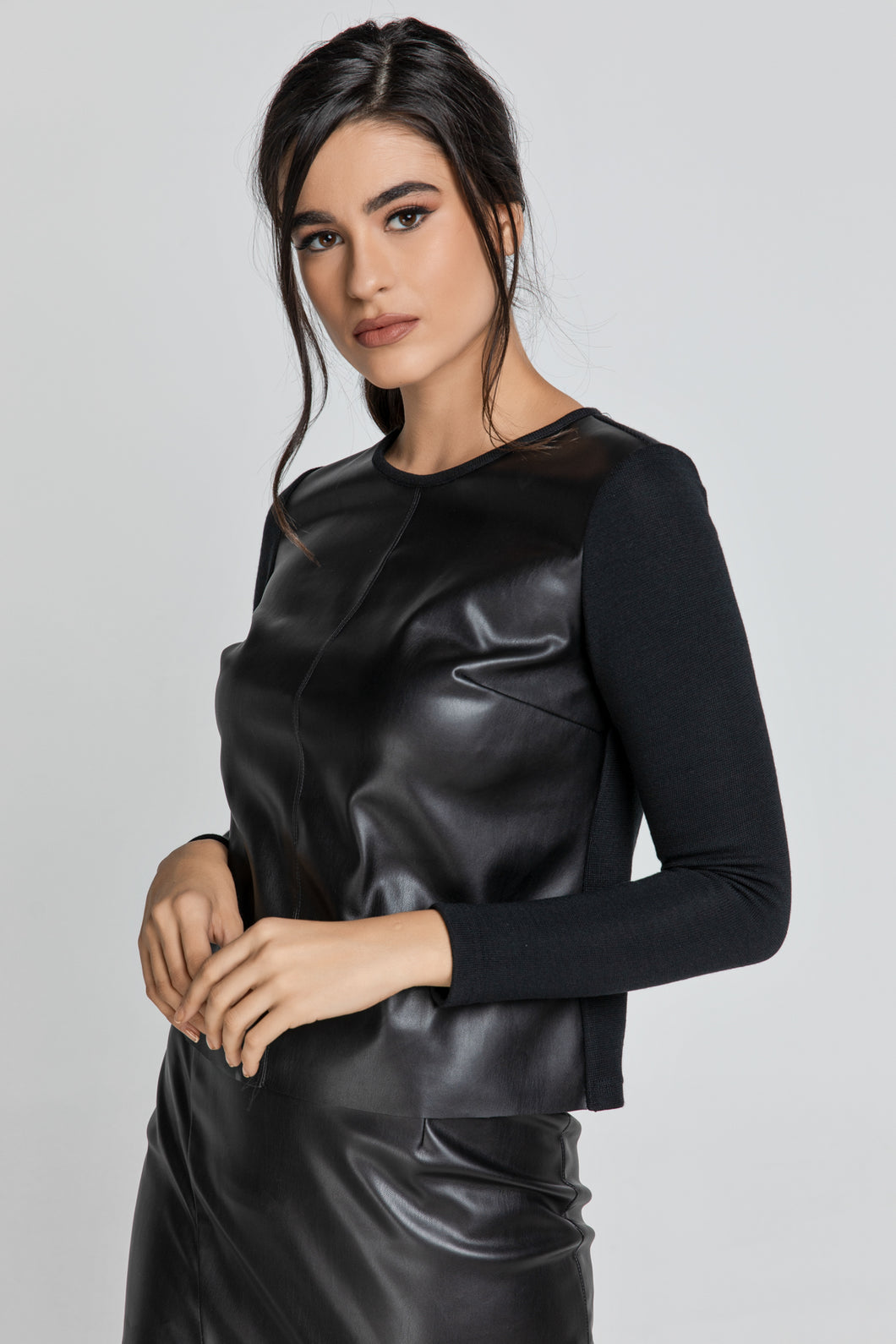 Black Top with Faux Leather Front