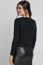 Load image into Gallery viewer, Black Top with Faux Leather Front