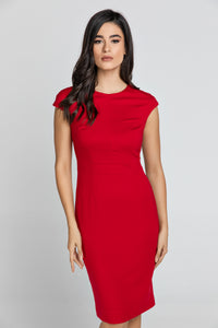 Fitted Red Dress with Cap Sleeves