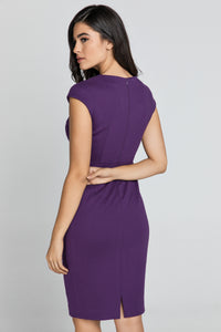 Fitted Mauve Dress with Cap Sleeves