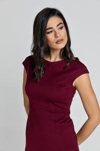 Fitted Burgundy Dress with Cap Sleeves