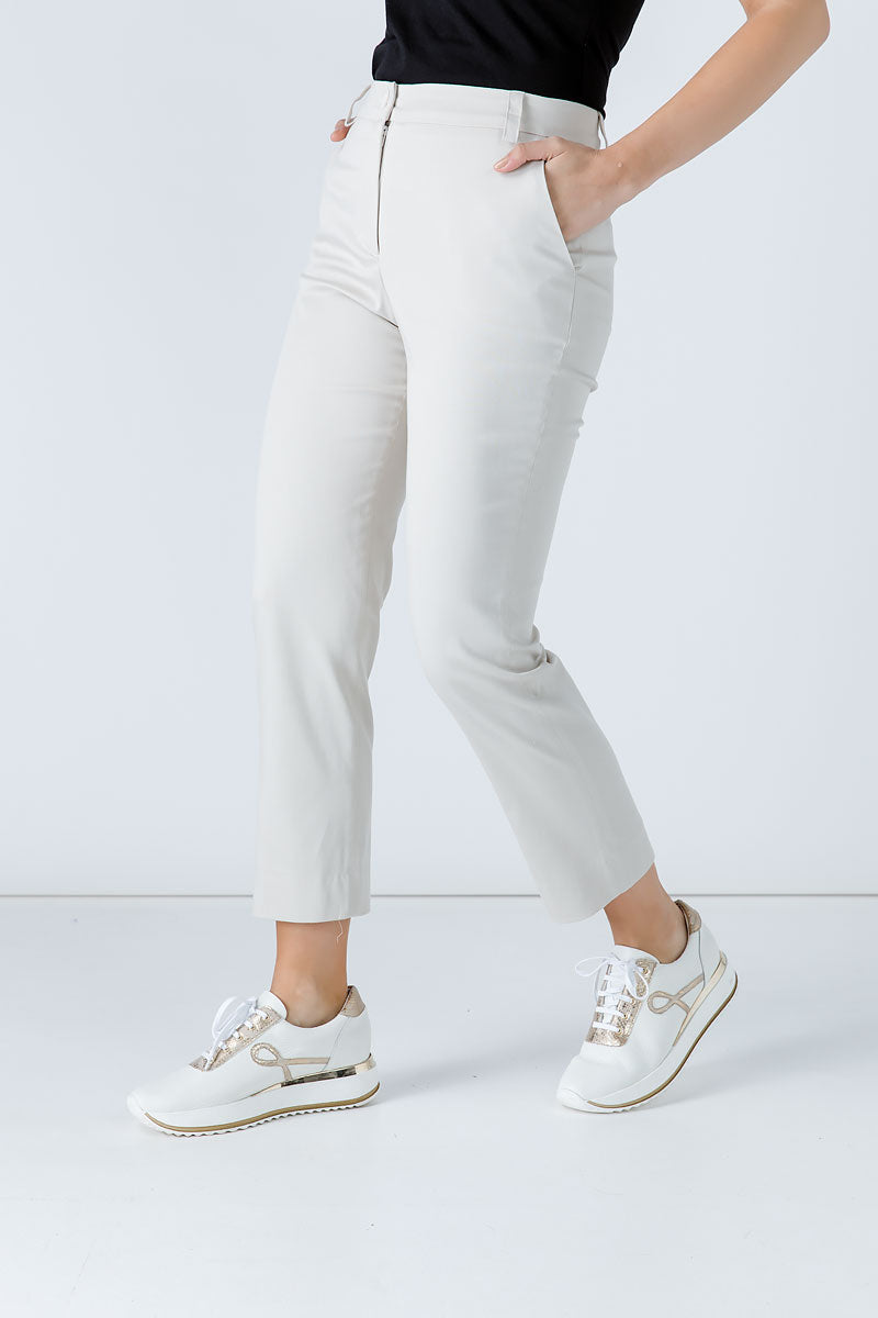 Sand Colour Fitted Stretch Pants