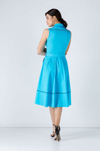 Turquoise Button Detail  Dress