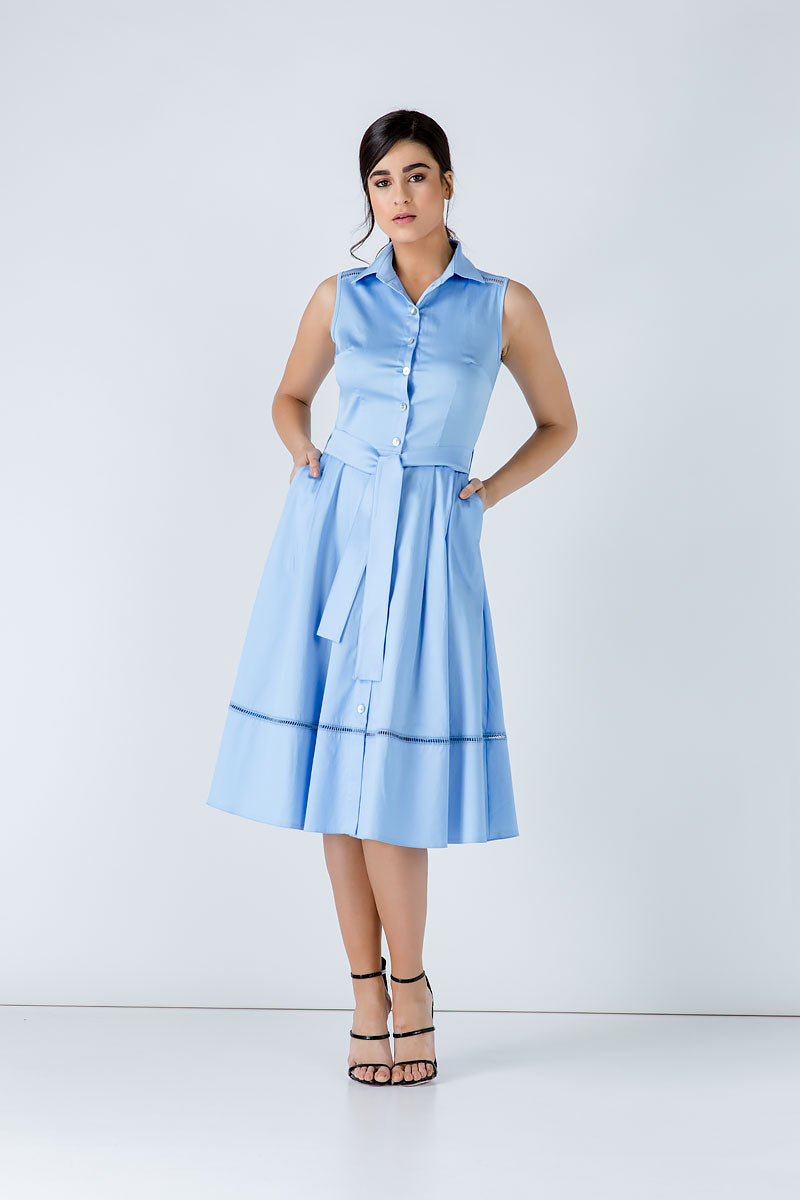 Light Blue Button Detail Dress