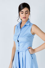 Load image into Gallery viewer, Light Blue Button Detail Dress