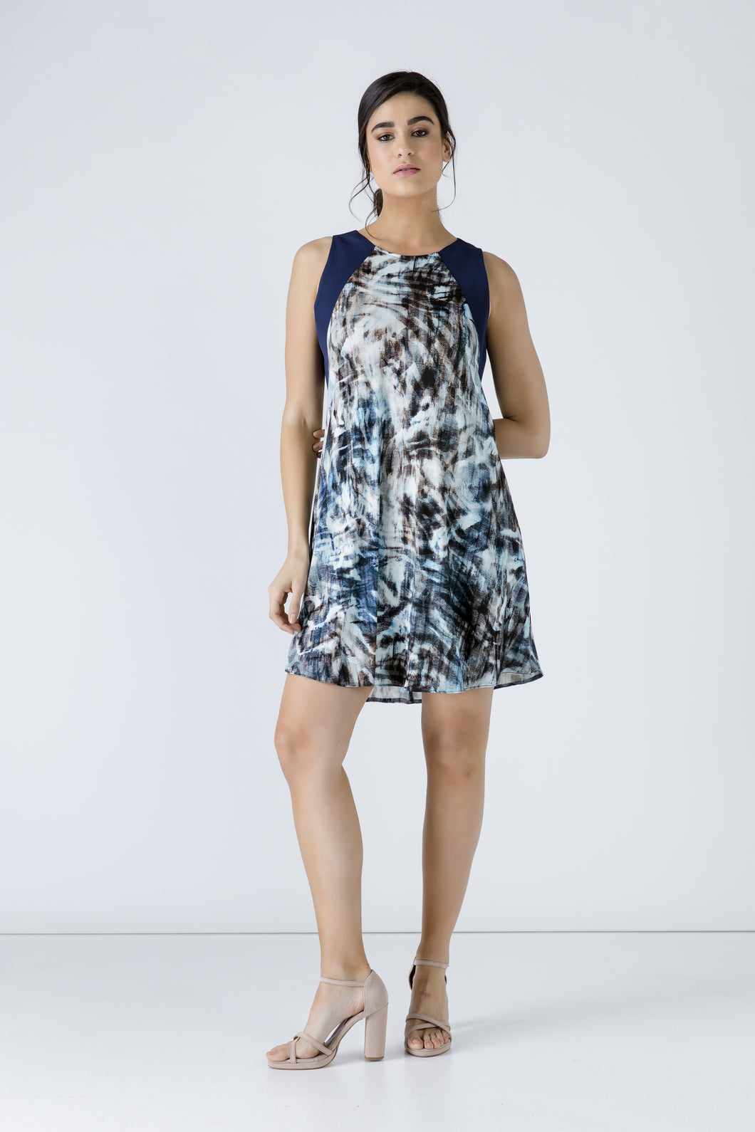 Navy Blue Sleeveless Print Dress