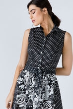 Load image into Gallery viewer, Button Detail Black Print Dress