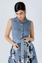 Load image into Gallery viewer, Button Detail Navy Blue Print Dress