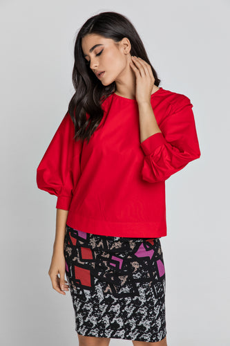 Red Top with Bishop Sleeves