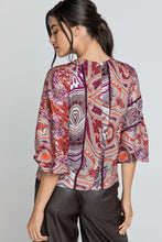 Load image into Gallery viewer, Red Print Top with Bishop Sleeves