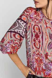 Red Print Top with Bishop Sleeves