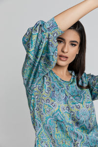 Blue Paisley Print Top with Bishop Sleeves