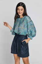 Load image into Gallery viewer, Blue Paisley Print Top with Bishop Sleeves