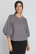 Load image into Gallery viewer, Black & White Check Top with Bishop Sleeves