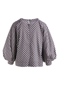Black & White Check Top with Bishop Sleeves