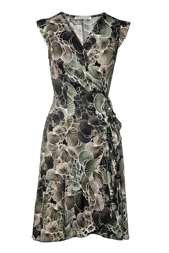 Khaki Floral Wrap Dress