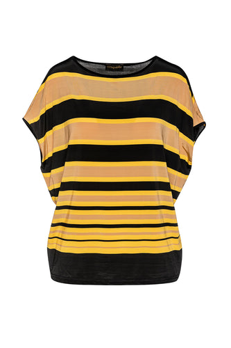 Striped Sleeveless Top  in Stretch Jersey Fabric