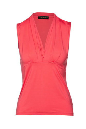 Coral Sleeveless Faux Wrap Top