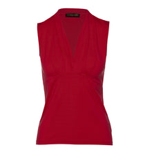 Load image into Gallery viewer, Red Faux Wrap Sleeveless Top