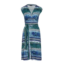 Load image into Gallery viewer, Multi-Coloured Empire Line Sleeveless Dress in Petrol Color