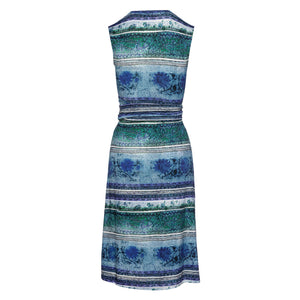 Multi-Coloured Empire Line Sleeveless Dress in Petrol Color