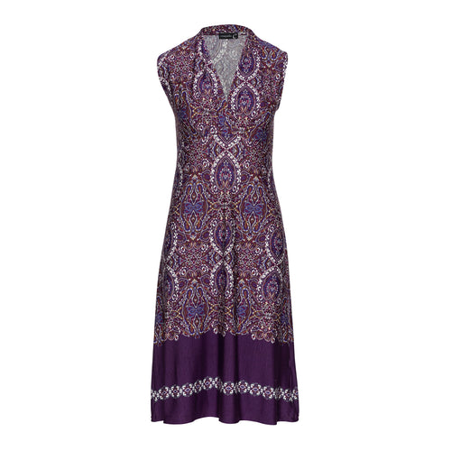 Print Empire Line Sleeveless Dress in Aubergine Color