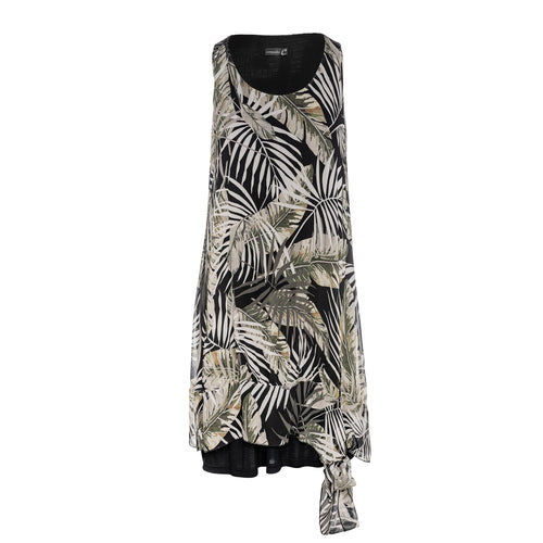 Sleeveless Double Layer Tropical Print Dress