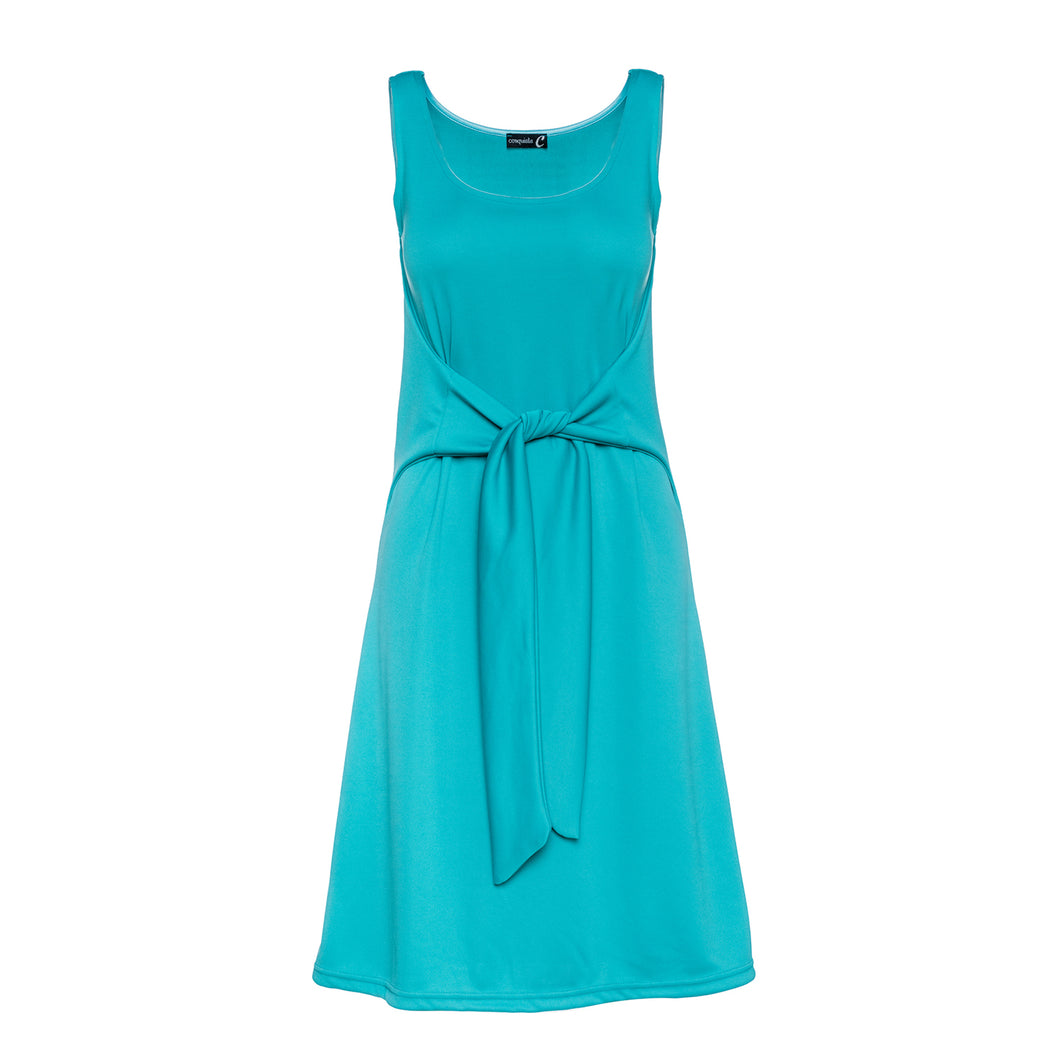 Sleeveless A Line Dress with Tie Waist