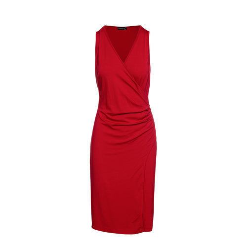 Wrap Style Sleeveless Dress in Red