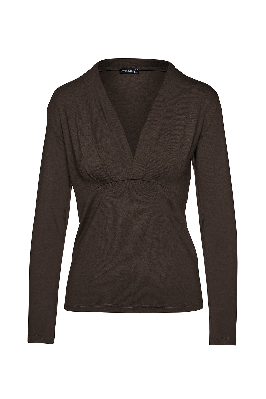 Brown Long Sleeve Faux Wrap Top in Stretch Jersey Sustainable Fabric