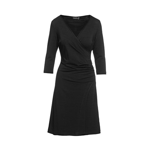 Black Faux Wrap Dress in Sustainable Fabric