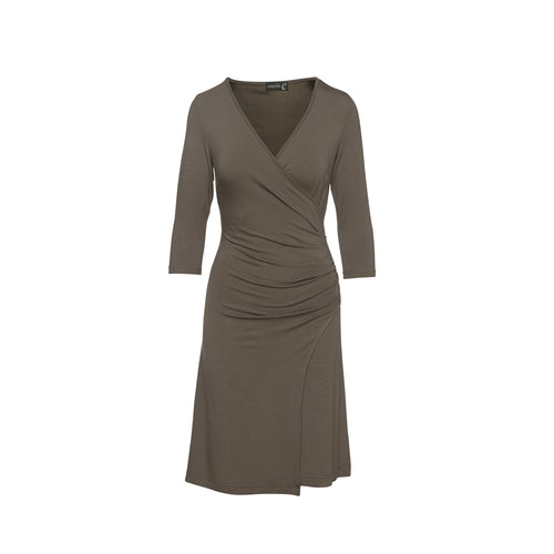 Faux Wrap Dress in Sustainable Fabric Jersey in Khaki