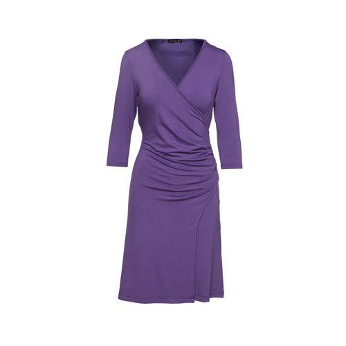 Faux Wrap Wool Dress in Jersey Fabric