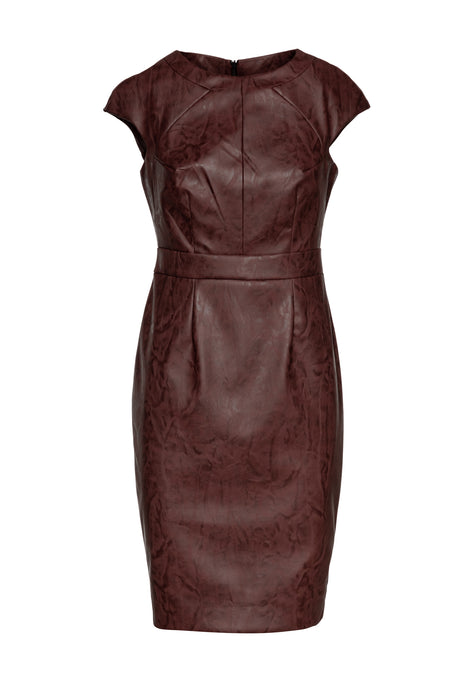 Chocolate Brown Faux Leather Dress