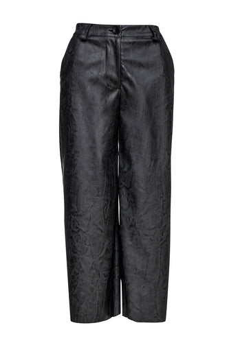Dark Grey Faux Leather Culottes