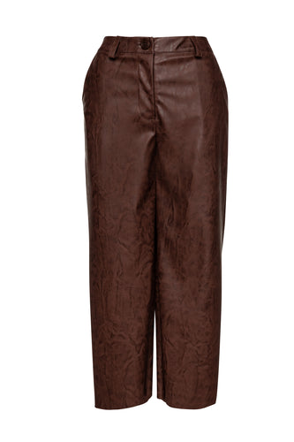 Chocolate Brown Faux Leather Culottes