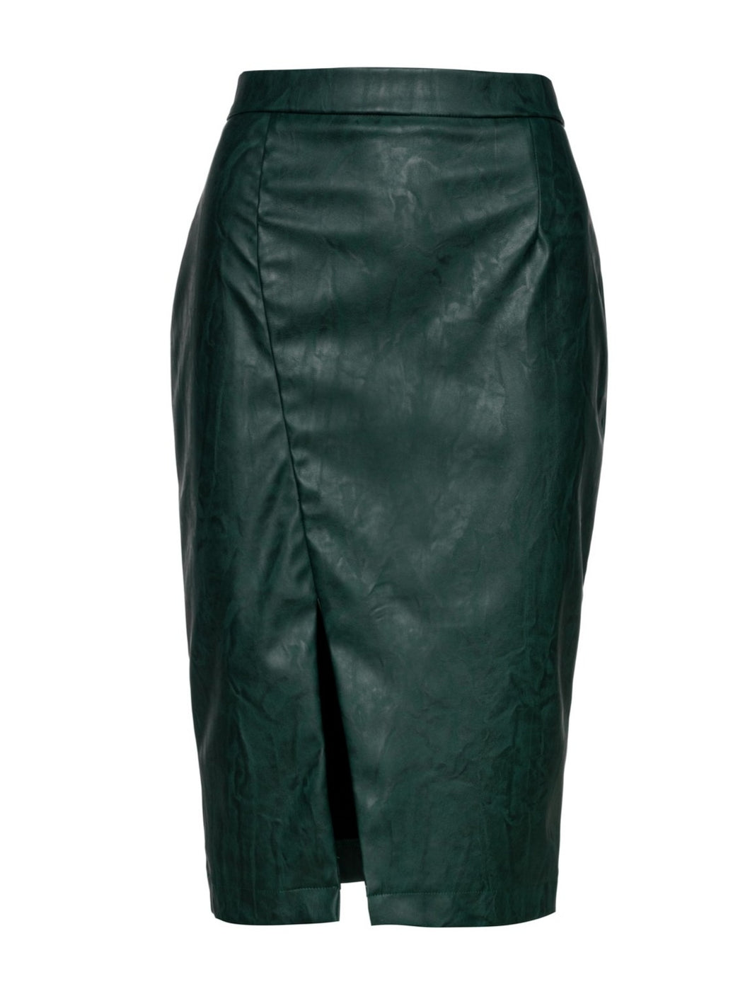 Green Faux Leather Pencil Skirt