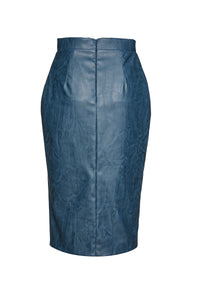 Indigo Faux Leather Pencil Skirt
