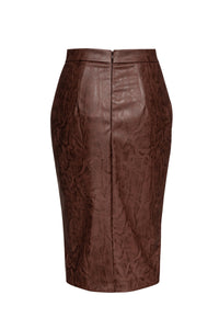 Chocolate Brown Faux Leather Pencil Skirt