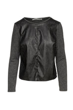 Load image into Gallery viewer, Dark Grey Faux Leather Detail Top