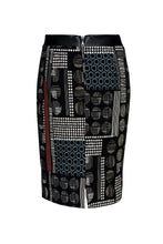 Load image into Gallery viewer, Patterned Pencil Skirt with Faux Leather Detail