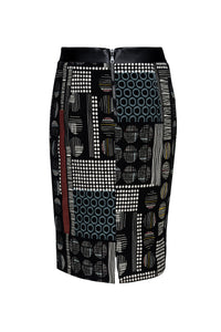 Patterned Pencil Skirt with Faux Leather Detail