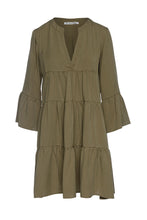 Load image into Gallery viewer, Khaki Tencel Gathered Seams Dress