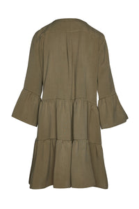Khaki Tencel Gathered Seams Dress