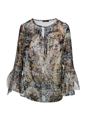 Print Voile Top with Flounce Sleeves