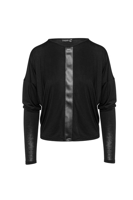 Black Batwing Top with Faux Leather Detail
