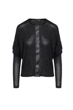 Load image into Gallery viewer, Dark Grey Batwing Top with Faux Leather Detail